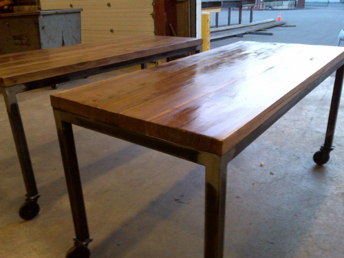 Steel black walnut custom table design interior